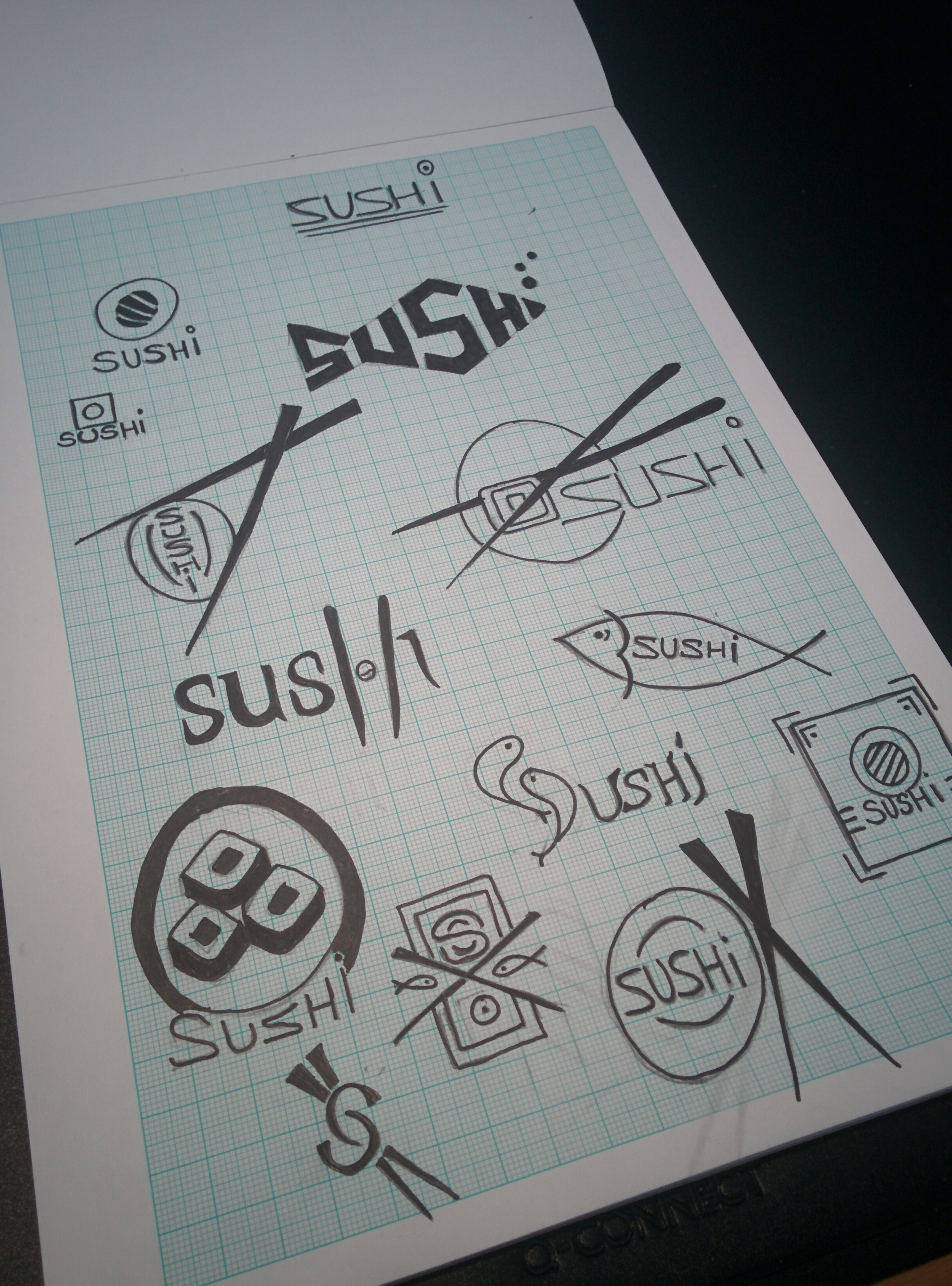 Sushi Logo Design Sketches and drawings concepts