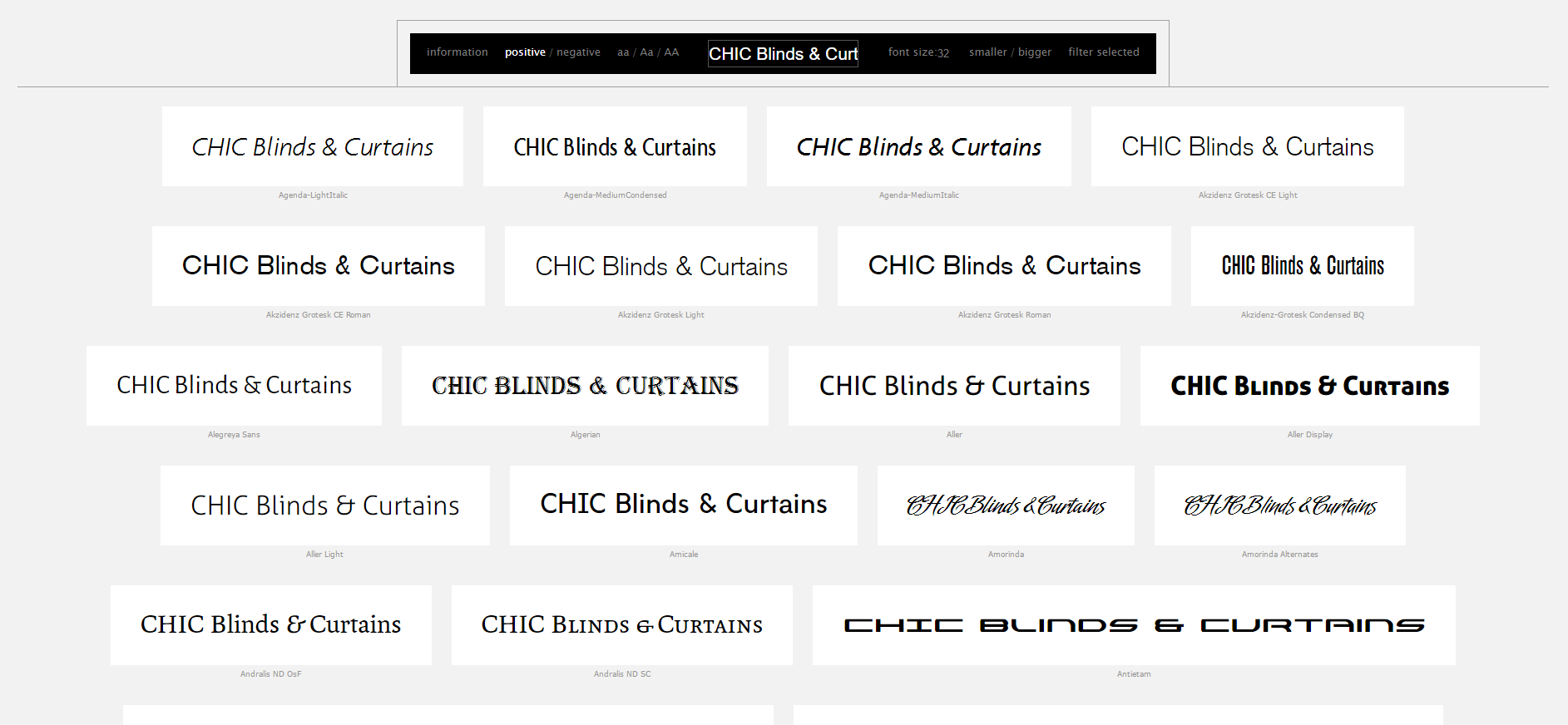 Chic Blinds & Curtains - Typography