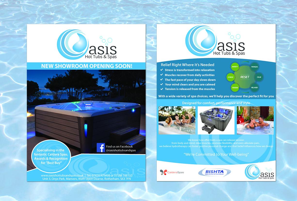 Oasis Hot Tubs & Spas Flyer Design, Print Design