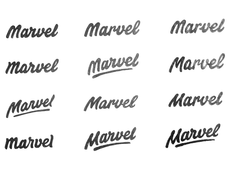 "Sketching Actually took a lot of inspiration from the previous Marvel type, especially the ""r-v"" and ""v-e"" connection were interesting to explore further."
