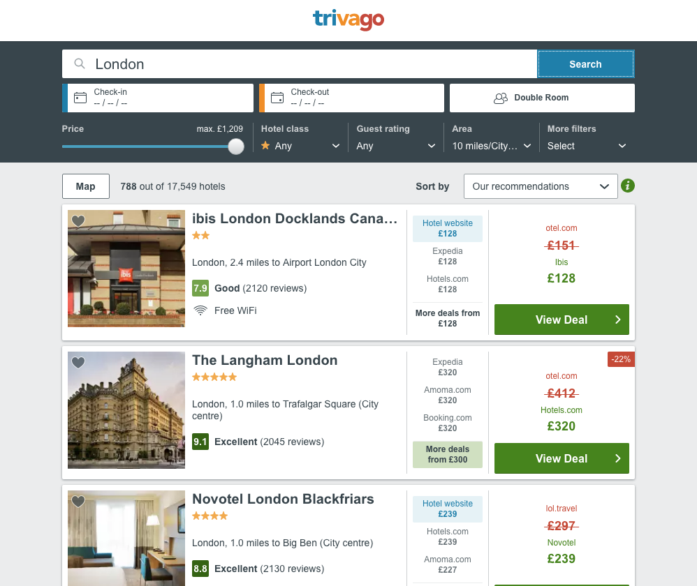 Trivago Website Screenshot