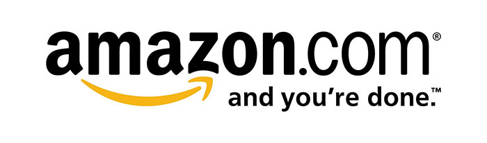 Amazon logo design history and evolution 2002 logo design with added slogan- and you're done