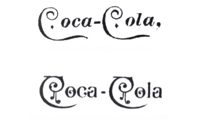Coca-Cola version with Diamonds used until 1892, and alternate typeface used for a series of calendars in 1891