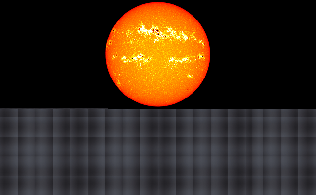 Comparison showing the Sun (top) and approximately 1,300,000 Earths (bottom)