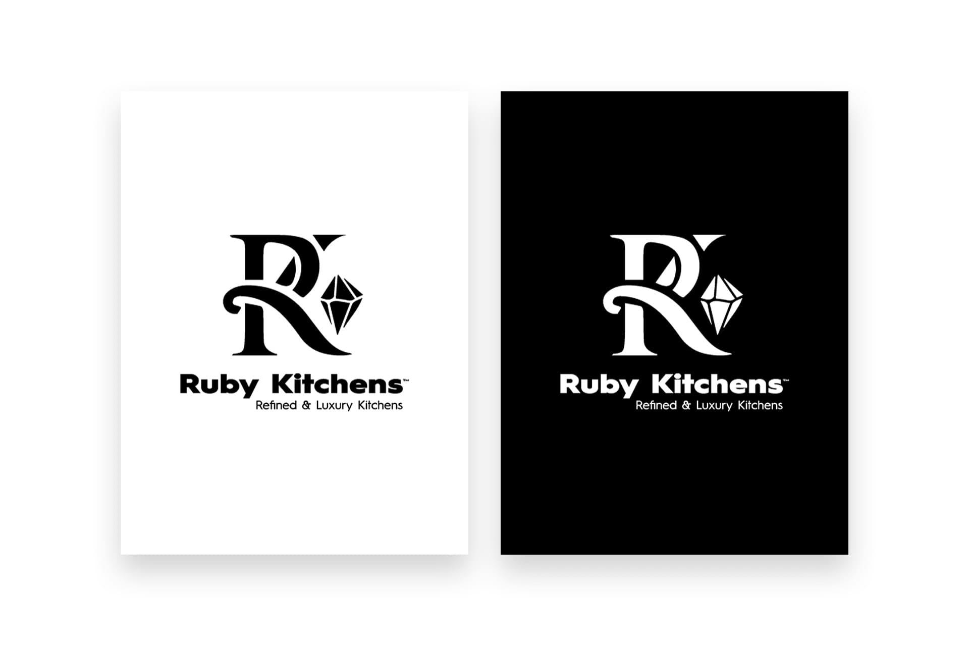 Ruby Kitchens Logo Design - B&W - The Logo Creative