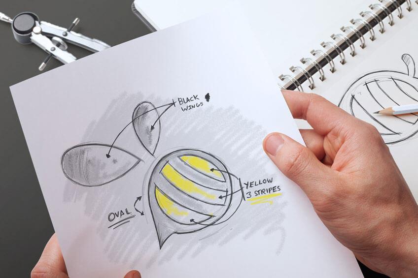 Designer Interview With Jeremy Miller StickyBranding-Bee-Sketch