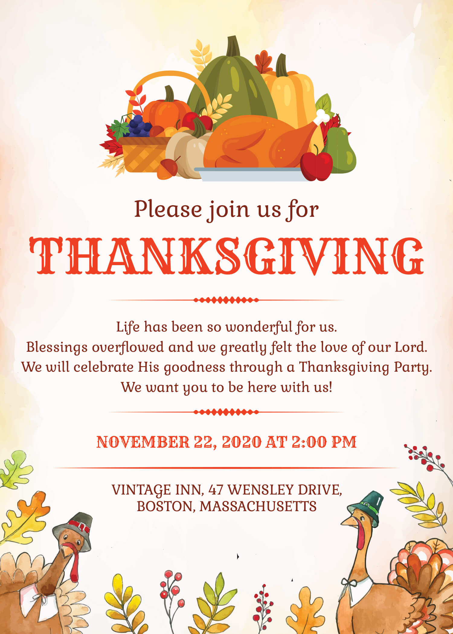 4abaa070940 Celebrate this Thanksgiving with your customers the high-quality and  fashionable way with a well-designed Thanksgiving Restaurant Invitation.