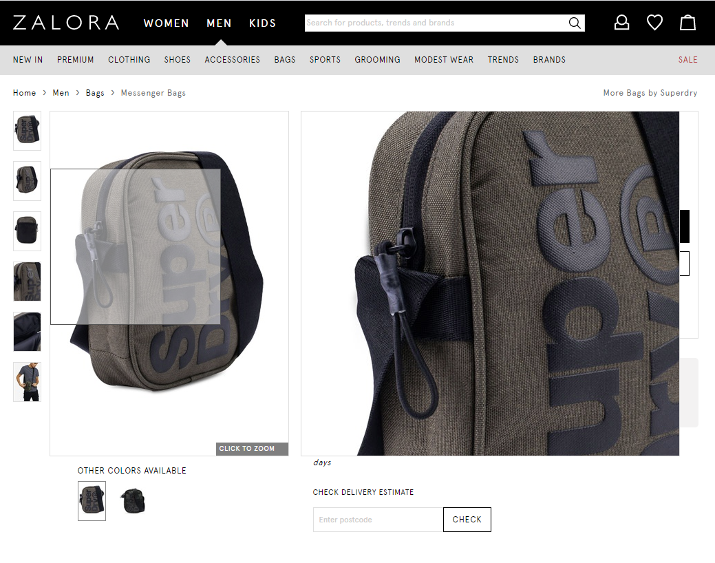 Ecommerce sites like Zalora lets users see product images in different angles and zoom in to appreciate the details.