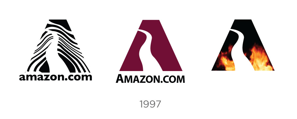 amazon logo design evolution and history - Amazon Logo Variations 1997