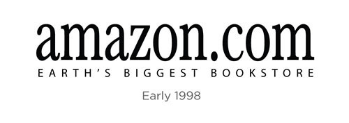 amazon logo design history and evolution_1998 Earths Biggest Bookstore