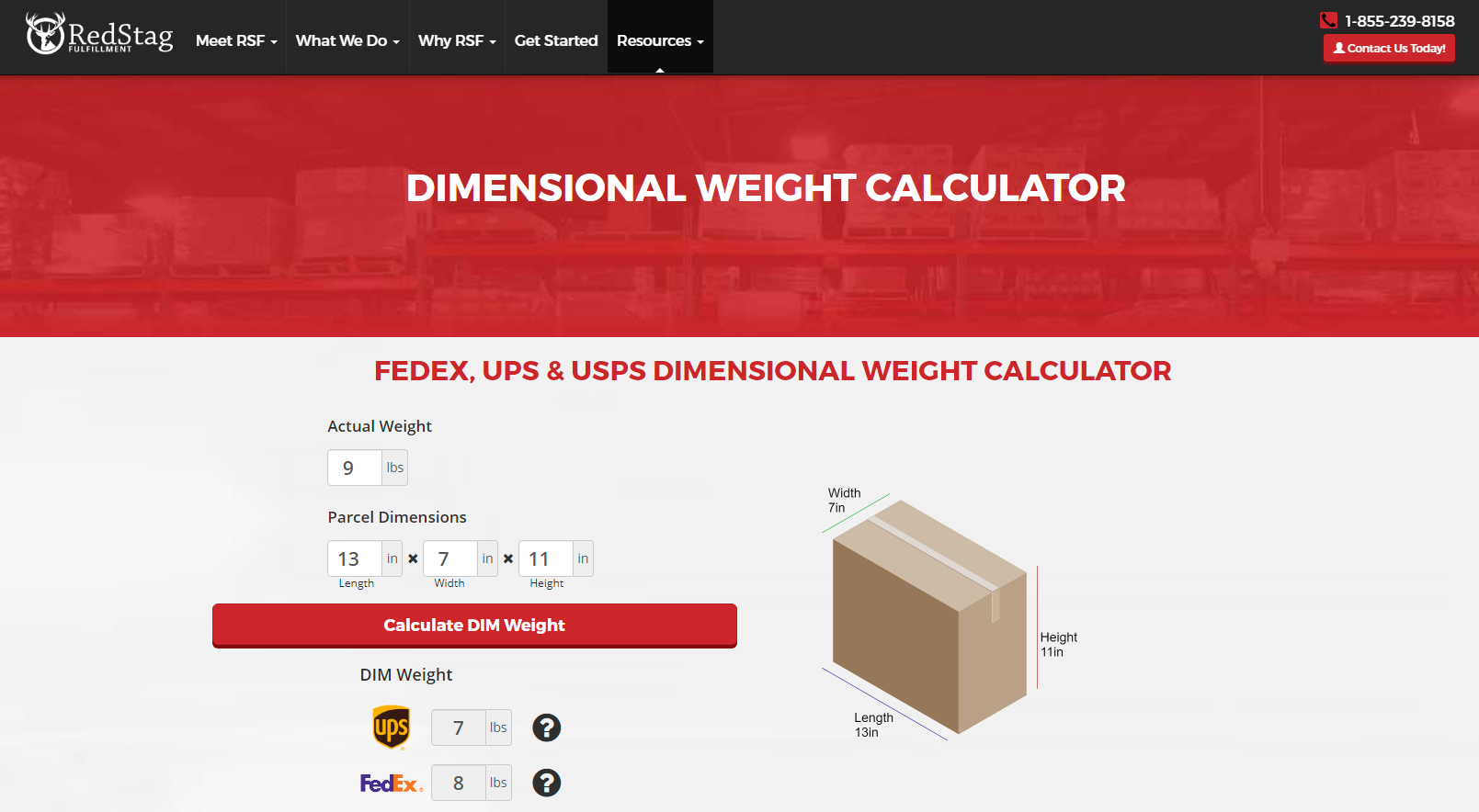 Red Stag Fulfillment lets users input the actual weight and dimensions of parcels to calculate its dimensional weight.