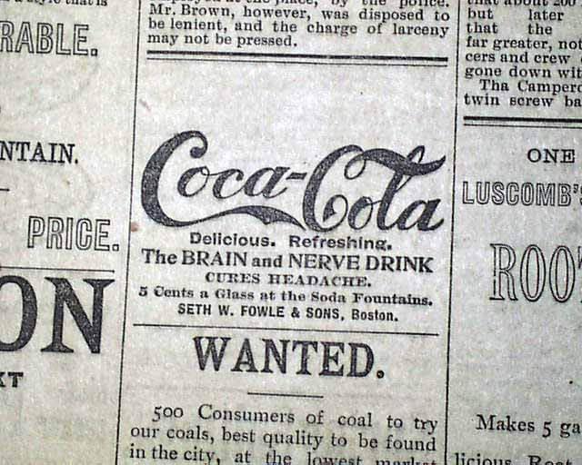 Coca-Cola News paper ad - JUNE 23, 1893 - Spencerian script