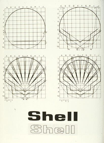 shell oil logo construction grid