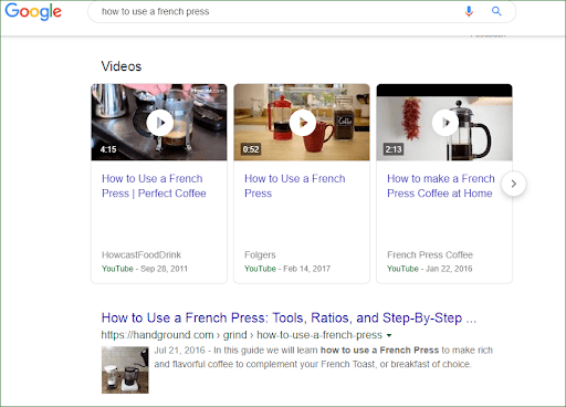 Google had begun showing videos above other types of content in search pages.